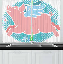 East Urban Home 2 Piece Blue And Pink Happy Flying Pig With Wings On Retro Style Dotted Oval Kitchen Curtain Set Wayfair
