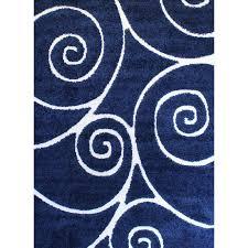 quaoar gy swirls navy blue area rug