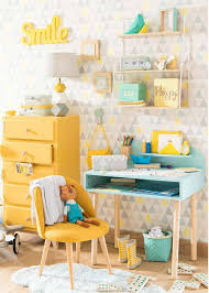 Mint Blue And Lemon Yellow Kids Desk And Bedroom Maisons Du Monde Yellow Kids Rooms Yellow Girls Bedroom Themed Kids Room