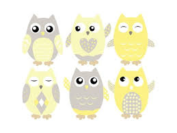 Amazon Com Owl Fabric Wall Decals Set Of 6 Owls Wall Stickers Yellow Grey White Available In 4 Different Sizes Non Toxic Reusable Repositionable Baby