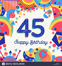 Feliz Cumpleanos Cuarenta Y Cinco 45 Anos Diseno Divertido Con