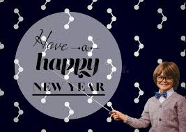 smiling boy pointing stick at new year greeting quotes stock