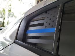 Thin Blue Line American Flag Quarter Window Decal 15 18 Charger Jdmfv Fanatic Wraps