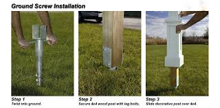 Screw In 4x4 Or 4x6 Post Anchor Complete Kit Mailbox Installation Diy Fence Concrete Fence Posts
