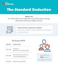 What's my standard deduction for 2019?