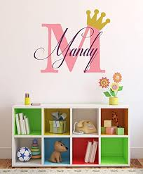 Amazon Com Baby Girl Initial Personalized Custom Name Vinyl Wall Decal 36 W By 20 H Girl Name Wall Decals Wall Decal Name Wall Decal Nursery Name Decal Girls Names Plus Free White