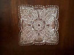 clear glass crystal square plate
