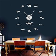 Large Wall Clock Ocean Sharks Black Or Silver Diving Specials Shop