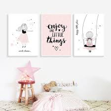 Pink Baby Girl Room Decor Nordic Poster Cartoon Pictures For Children Room Posters And Prints Wall Art Canva Kids Room Poster Room Posters Baby Girl Room Decor
