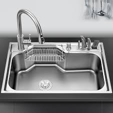 single bowl kitchen sink above counter