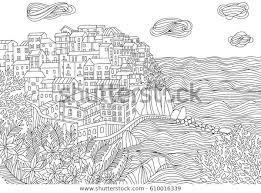 Kleurplaten Voor Volwassenen Met Monterosso Al Stockvector