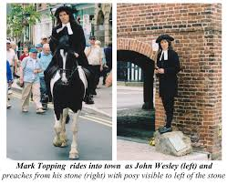 """Mark Topping in Llanidloes. A little posy of flowers are laid annually by  the """"John Wesley Stone"""" on August 10th to commemorat… 