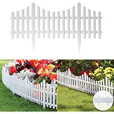 Fineway Set Of 4 Plastic Wooden Effect Lawn Garden Border Edge Edging Plant Picket Fencing Interlocking Panels For Flowerbeds White Amazon Co Uk Diy Tools