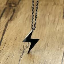 black lightning bolt pendant men man