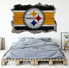 Pittsburgh Steelers Wall Art Decal 3d Smashed Kids Bedroom Wall Decor Wl148 Ebay