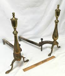 andirons antique iron and brass