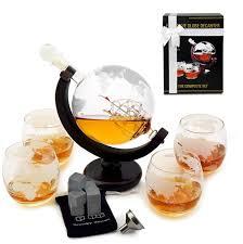 glass world globe whiskey decanter set