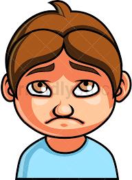 little boy sad face cartoon vector