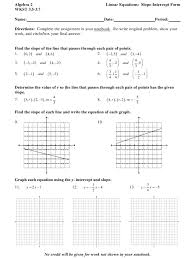 algebra 2 wkst 3 5 3 7 linear equations