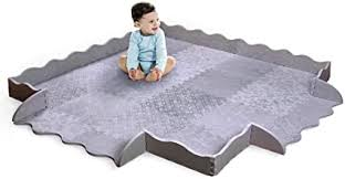 Designer Baby Play Mat With Fence Thick Playmat Baby Mat With Non Toxic Safety Soft Foam Baby Floor Mats Tiles Gym For Infants Babies Crawling Toddlers Playing Kids Nursery Rug Amazon Co Uk