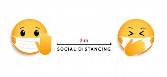 Social distancing 2 m. medical mask emoticons. icon for ...