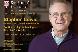 UM Today | 'Are Human Rights Eroding in the 21st Century?': Stephen Lewis  speaking on campus Feb. 28