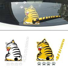 Reflective Car Stickers Cartoon Funny Moving Tail Naughty Cat Kitten Stickers For Styling Window Wiper Decals Decor Rear Windshield Wish