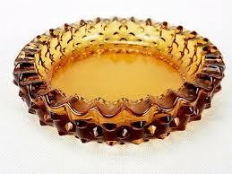 vintage fenton ashtray amber glass 6 1