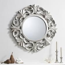 ornate silver round mirror pewter