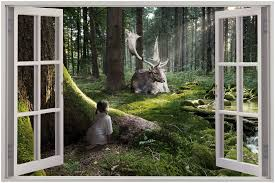 Huge 3d Window View Fantasy Forest Wood Fairytale Wall Sticker Mural Decal 60 Ebay