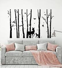 Vinyl Wall Decal Deer Forest Animals Tree Nature Living Room Stickers Wallstickers4you