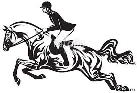Horse Show Jumping Equestrian Sport Competition Horseman Rider Controls A Horse Jumping Over An Obstacle Black And White Show Horses Horse Tattoo Horses