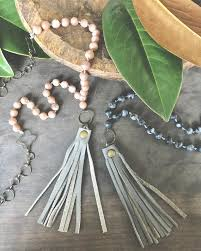 leather tassel necklace knot bead