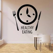Healthy Eating Wall Decal Words Clock Time To Eat Kitchen Restaurant Decor Art Door Window Vinyl Stickers Creative Mural Q006 Wall Stickers Aliexpress