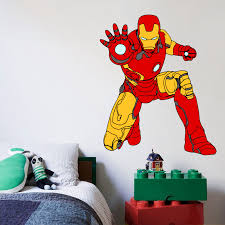 Iron Man The Avengers Cartoon Character Wall Decal Vinyl Sticker Art Home Decor Sticker Vinyl Mural Baby Kids Room Bedroom Nursery Kindergarten School House Wall Art Design Peel And Stick 10x8 Inch