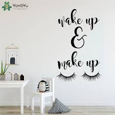 Yoyoyu Wall Decal Wake Up And Make Up Wall Quotes Sticker Vinyl Wall Decal For Bedroom Girls Room Beauty Salon Poster Qq32 Wall Stickers Aliexpress