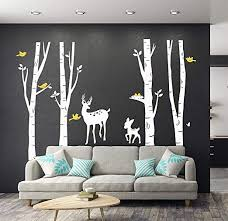 Amazon Com Luckkyy Large Birch Tree Deer Wall Decal Forest Birch Trees Birch Trees Vinyl Kids Vinyl Sticker Vinyl Wall Decal Family Room Art Decoration White Home Kitchen