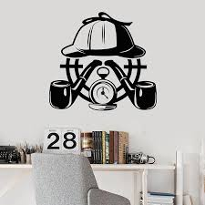 Creative Wall Decal Detective Agency Story Smoking Pipe Target Vinyl Door Window Stickers Teens Room Interior Decor Mural E792 Wall Stickers Aliexpress