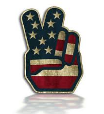 Rustic American Usa Peace Sign Flag Sticker Finger Hand Symbol Car Vehicle Decal Ebay