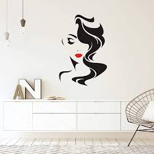 Amazon Com Wall Decal Window Sticker Beauty Salon Woman Face Hair Salon Hairstyle Style Hair Vinyl Wall Decals For Bedroom Y30 Large Home Kitchen