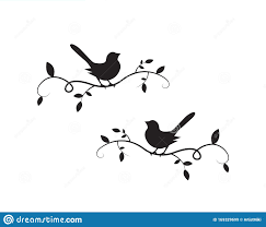 Birds On Branch Silhouette Vector Wall Decals Wall Artwork Birds On Two Branches Design Birds Silhouette Stock Vector Illustration Of Tree Branches 169329699