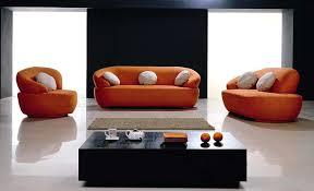 contemporary fabric orange sofa design
