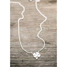 silver necklace four leaf clover faith