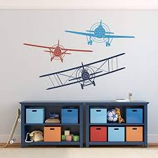 Amazon Com 3 Airplanes Wall Decals Nursery Boy Biplane Monoplane Wall Decal Boys Kids Room Playroom Wall Vinyl Decal Large Navy Blue Dark Red Medium Blue Kitchen Dining
