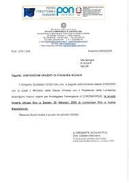 DISPOSIZIONI URGENTI DI CHIUSURA SCUOLE FINO AL 1 MARZO 2020 ...