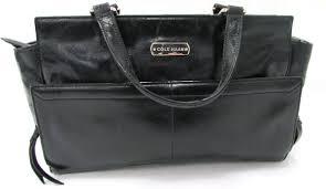 cole haan black leather large handbag
