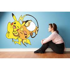 Pikachu Pokemon Anime Cartoon Wall Decal Vinyl Sticker Art Home Decor Sticker Vinyl Mural Baby Kids Room Bedroom Nursery Kindergarten School House Home Wall Design Removable Peel And Stick 30x15 Inch