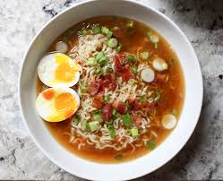 homemade ramen with bacon soft boiled