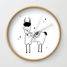 Baby Lama Kids Room And Nursery Deco Wall Clock By Cocobie Society6