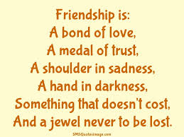 friendship is a bond of love friendship sms quotes image